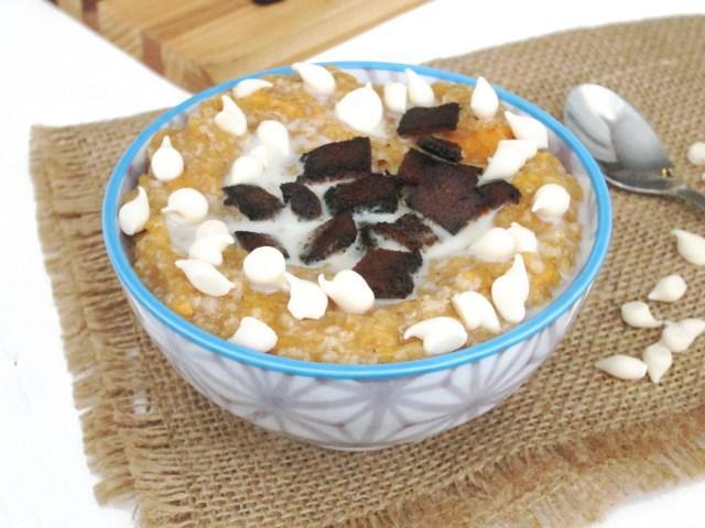 Sweet Potato, Bacon, and White Chocolate Oatmeal #oatmealartist #vegan