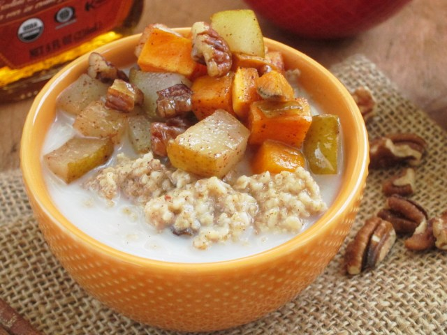 Cinnnamon Raisin Oatmeal with Maple Roasted Sweet Potato and Pear by the Oatmeal Artist #Vegan
