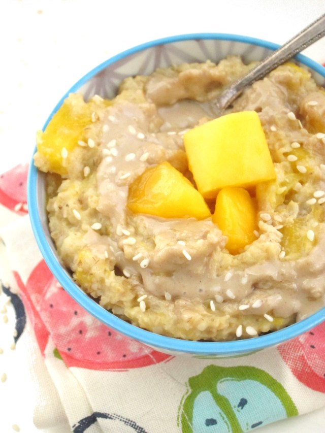 Mango Tahini Oatmeal by the Oatmeal Artist