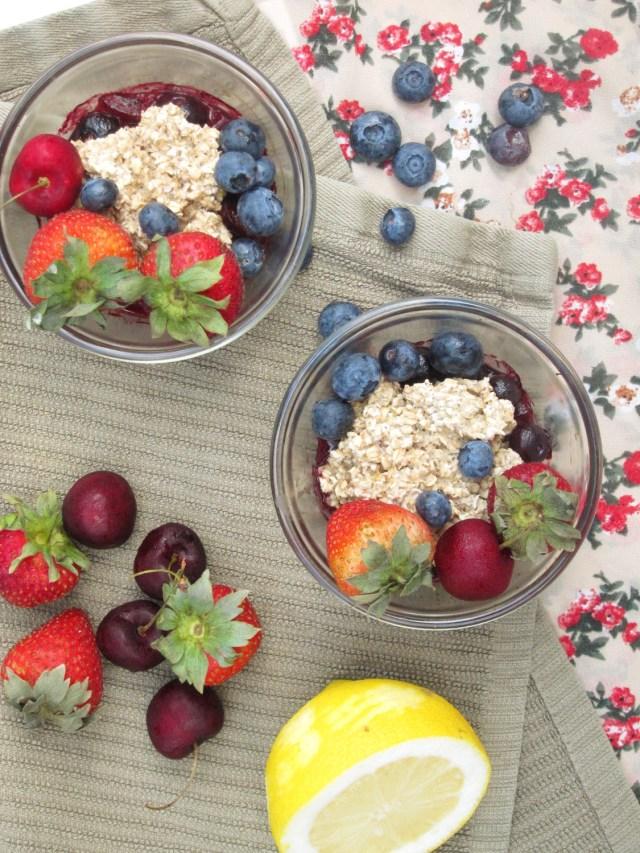Cherry-Berry Breakfast Cobbler by the #OatmealArtist #vegan