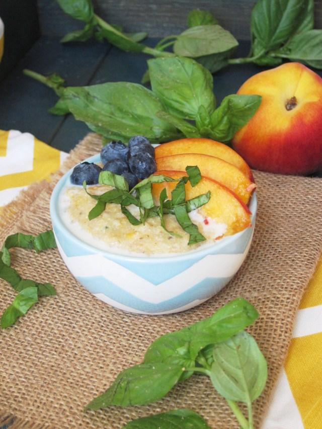 Peach Basil Oatmeal #OatmealArtist #Vegan