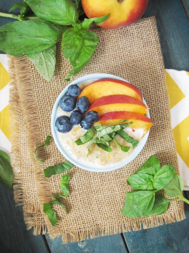 Peach Basil Oatmeal #Vegan #OatmealArtist