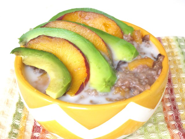 Peach-Cherry Oatmeal with Avocado #Vegan #OatmealArtist