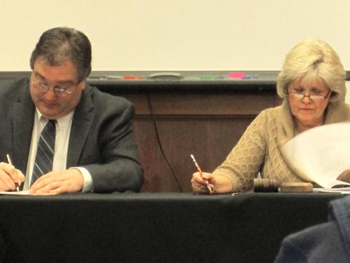 New BOE vice president JohnLeadbeater and new president McDonald.