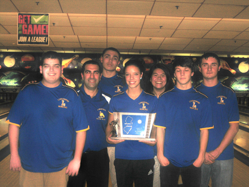 Photo courtesy of Michael Rizzo. The Lyndhurst bowling team won an NJSIAA state sectional title for the third time in four years and finished second overall in NJSIAA Group I. From l. are Massimo Sarracino, head coach Michael Rizzo, Jordan Lopez, Lexus Lopez, Emily Young, Mike Dul and Michael Hayes.