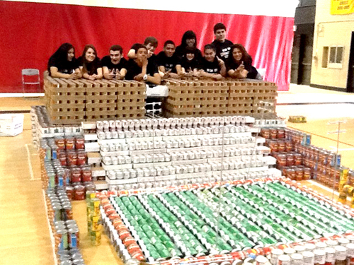 Photo courtesy Kearny High School KHS students show off Canstruction projects made last year.