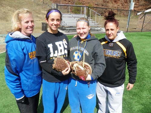 Photo by Jim Hague The Lyndhurst softball team will go as far as their two seniors will carry them. From l. are head coach Elaine Catanese, senior pitcher Casey Zdanek, senior catcher Julieann Schneidenbach and assistant coach Diana Auteri.