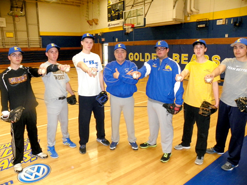 Photos by Jim Hague The Lyndhurst baseball team might not have experienced pitchers returning, but they certainly have plenty of available arms. From l. are Danny Tallent, Michael Polito, Max Hart, head coach Butch Servideo, Nick Galvez, Nolan Kelly and Jordan Lopez.
