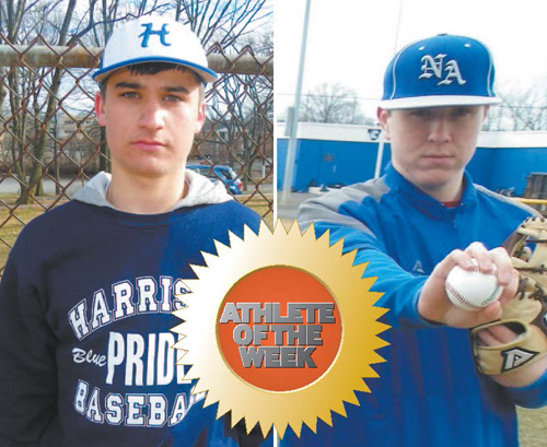 Photos by Jim Hague LEFT: Harrison junior right-handed pitcher Tom Dolaghan. RIGHT: North Arlington senior right-handed pitcher Ryan Fego.