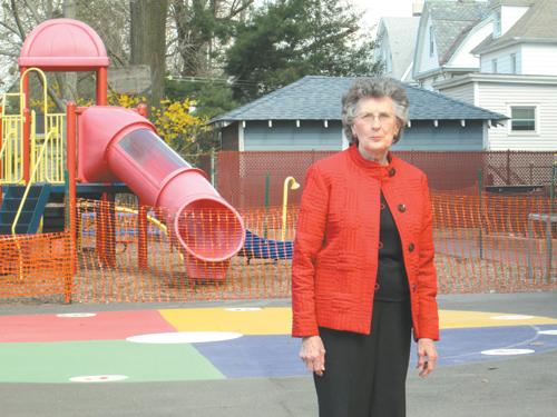 Photo by Ron Leir Margaret Bixler in the Roosevelt School toddler playground.