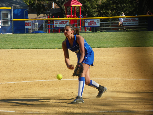 Photo by Jim Hague Junior Tanna Avella is the main pitcher on the North Arlington softball team this spring.