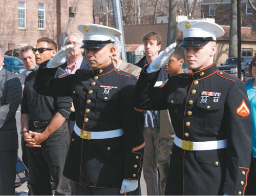 Photo by Karen Zautyk Heroes of today (Marines at Nutley memorial service).