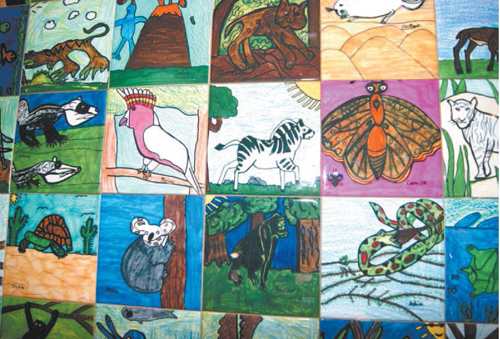 Photo by Karen Zautyk Some of the endangered-species tiles.