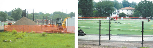 Photos by Ron Leir Turf softball field (l.) and turf football/soccer field are rounding into shape.