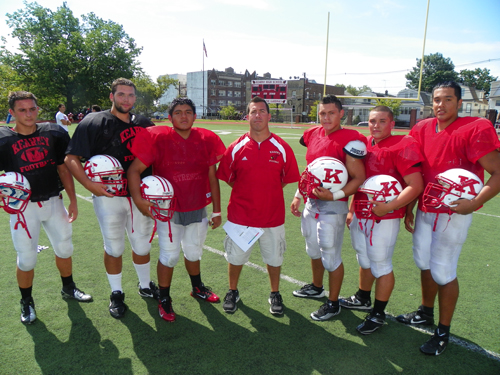 Photo by Jim Hague The Kearny High School football team welcomes a new head coach in 2013 in Nick Edwards. From l. are linemen T.J. Witt, Nick Springer, Edwin Machuca, Edwards, Byron Quevedo, Owen Martinez and Joe Rodriguez.