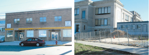Photos by Ron Leir Work should start soon at Midland Ave. building (l.) and at Kearny High, says the chief school administrator.