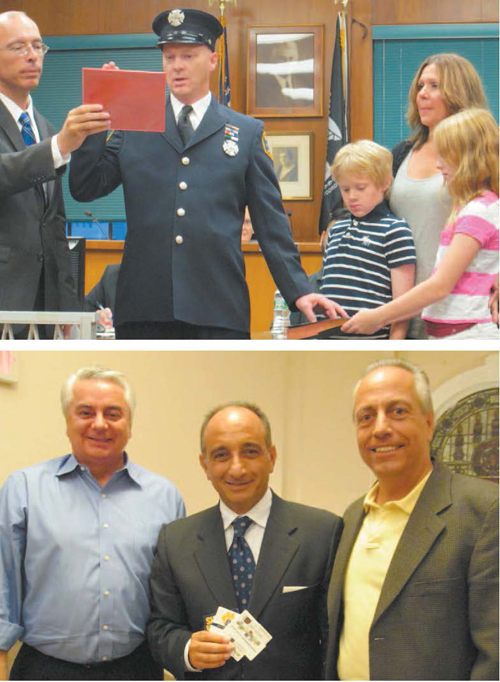 Photos by Ron Leir TOP: Fire Capt. George Harris is sworn in by Mayor Alberto Santos as son Jack, daughter Mia and wife Tracey look on. BOTTOM: Proponents of Property Tax Rewards Program, from l., are UEZ Director John Peneda, with Carmine DeFalco and Frank Capria of Fincredit.