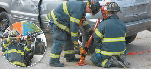 Photos courtesy Harrison Fire Department Harrison fi refi ghters train with newly acquired rescue tools. After securing vehicle with jacks, men practice (inset) cutting open part of vehicle.