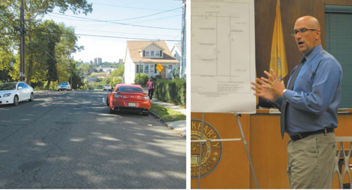 Photos by Ron Leir Engineer Brian Intindola tells residents why Afton St. should continue two ways, as seen l., between Belgrove Drive and Passaic Ave.