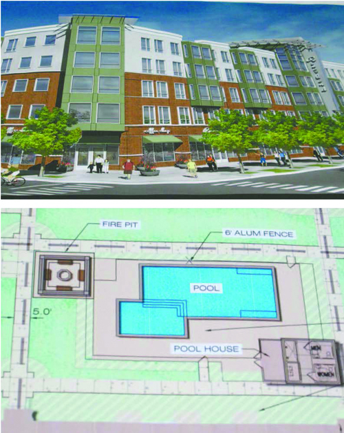 Photos by Ron Leir Top: Artist's view of proposed complex. Bottom: Layout of courtyard pool area.