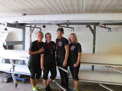 Photo courtesy Paula Cavalier From l., Kearny crew moms Amy Beth Baptista, Cindy Springer, Paula Cavalier and Patti McCurrie get together after racing for the first time as a crew team, namely the Kearny Oarsome Foursome