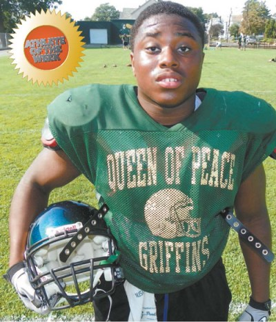Photo by Jim Hague Queen of Peace senior running back/linebacker Tajier Jefferson.