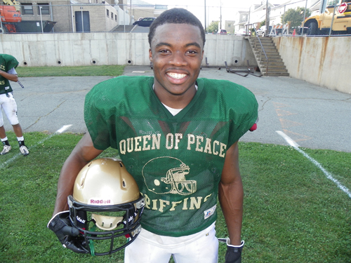 Photo by Jim Hague Queen of Peace senior running back Kevin Momnohin has been one of the most explosive players in New Jersey, gaining close to 2,000 yards on the ground and scoring 33 touchdowns