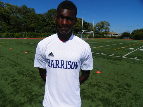 Photo by Jim Hague Harrison standout defender Modou Sowe was selected recently as an All-American by the National Soccer Coaches Association of America. He becomes the first All-American in the history of the school.