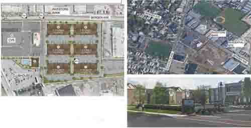 Images & rendering courtesy Russo Development Co. Clockwise, from l., schematic showing layout of six buildings comprising Schuyler Crossing; aerial view of site; and architect's vision of complex.