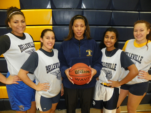 Photo by Jim Hague The Belleville girls' basketball team looks to improve on its 10-win season a year ago. From l. are seniors Shatia Silas, Alisson Samaniego, head coach Liz Ramirez, Amber Bulna and Chloe Mecka.