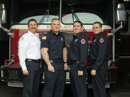 Photo by Ron Leir The new recruits at Nutley Fire Headquarters with Deputy Chief Paul Cafone. From l.: Cafone and Firefighters Ray Lucas, Michael Ferraro and Alan Nardiello.