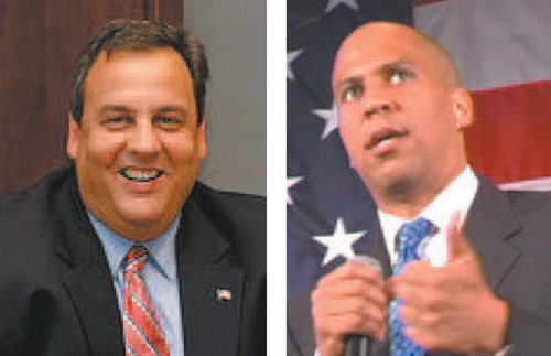 Photos courtesy Facebook Chris Christie (l.) and Cory Booker