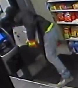 Photos courtesy Belleville PD Top: Suspect Matthew James. Bottom: Security camera image of Belleville cash register heist