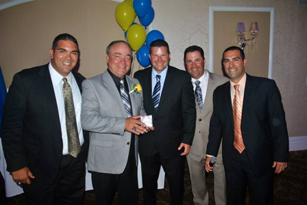 Photo courtesy Michael Rizzo Servideo with the organizers of his retirement party last week at the Fiesta in Wood-Ridge. From l., are football coach Rich Tuero, Servideo, athletic director Jeff Radigan, new head baseball coach Patrick Auteri and vice-principal Michael Rizzo.