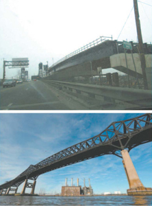 Work continued on a replacement for the Wittpenn (Rt. 7) Bridge linking Kearny and Jersey City (top) and repairs to the Pulaski Skyway (bottom) proceeded with the closing of northbound traffic.