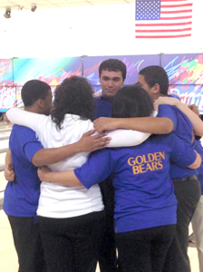 Photo courtesy Brianna Balkin The Lyndhurst bowling team gets together for one last group hug after clinching the NJSIAA Tournament of Champions title last week.
