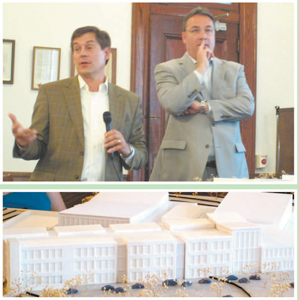 Photos by Ron Leir Consultants Stanley Puszcz of CP Engineers (l.) and James Determan Jr. of Hord / Coplan / Macht outline plans for new junior high school, a mockup of which was displayed