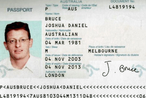 A fake Australian passport used in the Israeli assassination of Hamas leader Mahmoud Al-Mabhouh in 2010