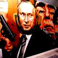 Vladimir Putin (with Brezniev looking over his shoulder)