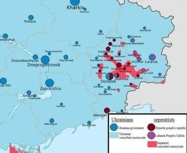Points of unrest in Eastern Ukraine in red. The vast majority of the region has been untouched by any violence.