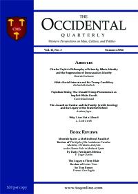 The Occidental Quarterly - Summer 2016