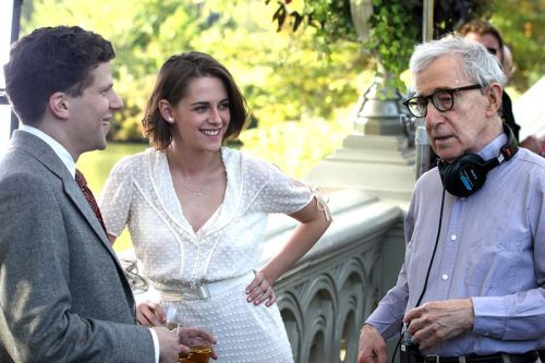 Jesse Eisenbert, Kristen Stewart, and Woody Allen in Cafe Society