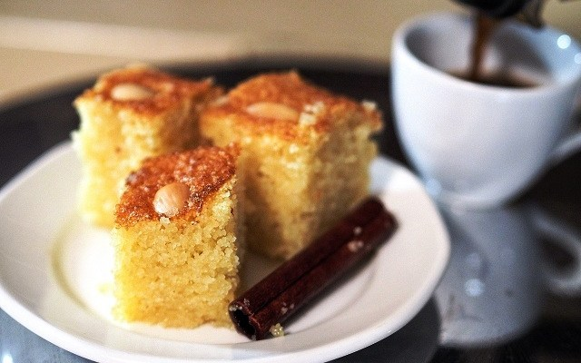 Galombrama | Greek Semolina Cake with Syrup