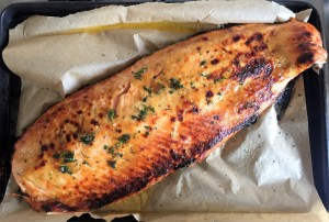 roasted salmon with honey mustard glaze above web