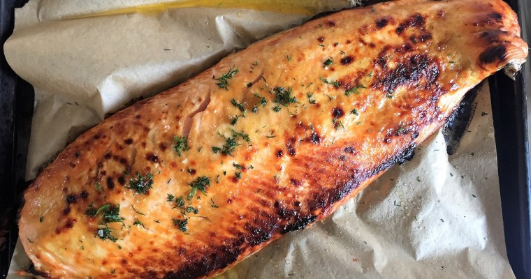 Roasted Salmon with Honey Mustard Glaze