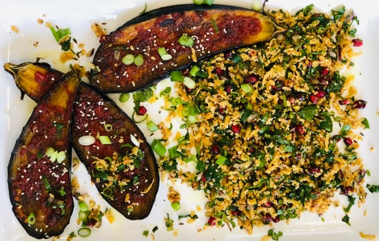 Roasted Aubergine & Cauliflower Couscous