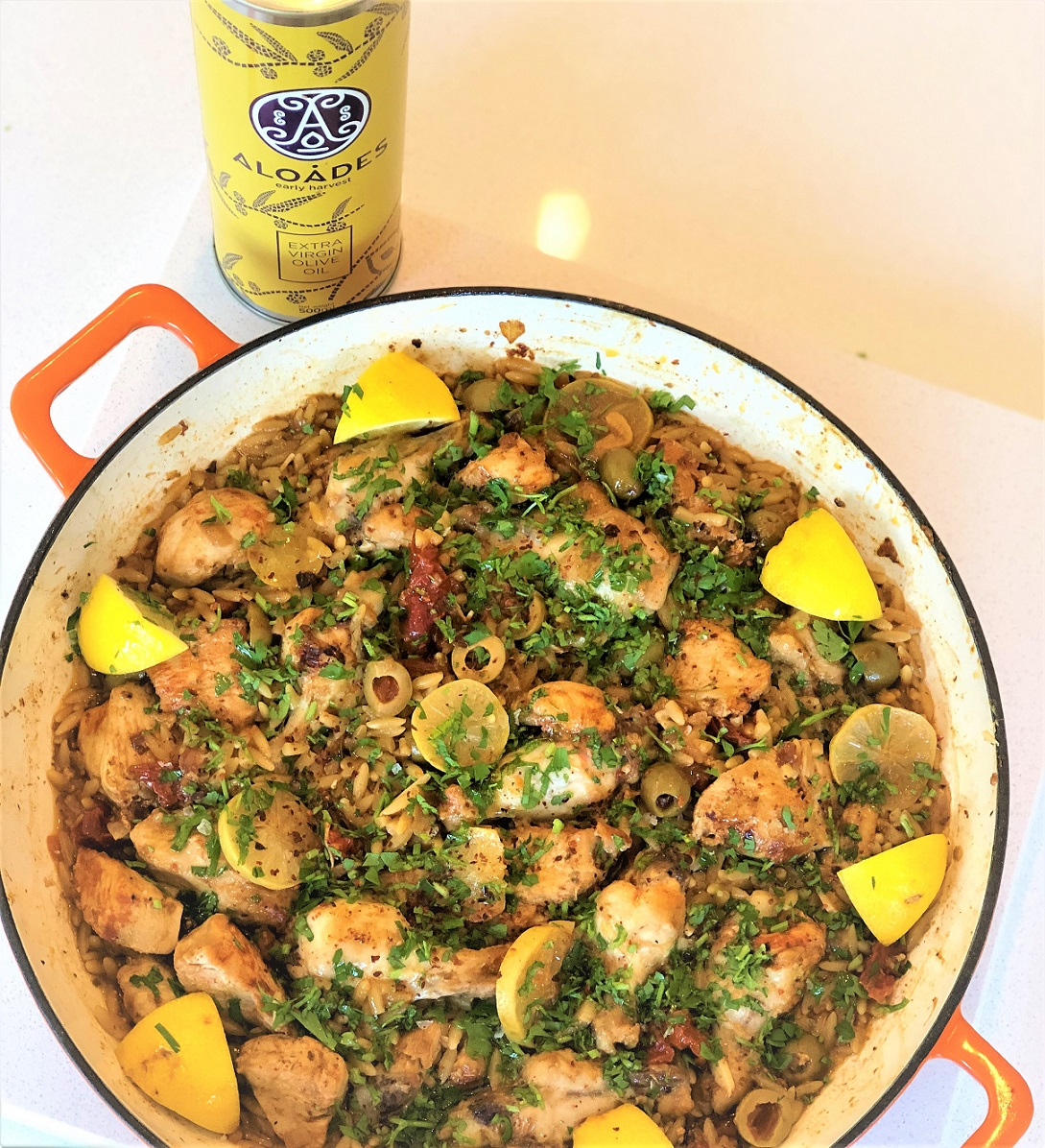 Orzo Lemon Chicken Tray Bake – Aloades Olive Oil