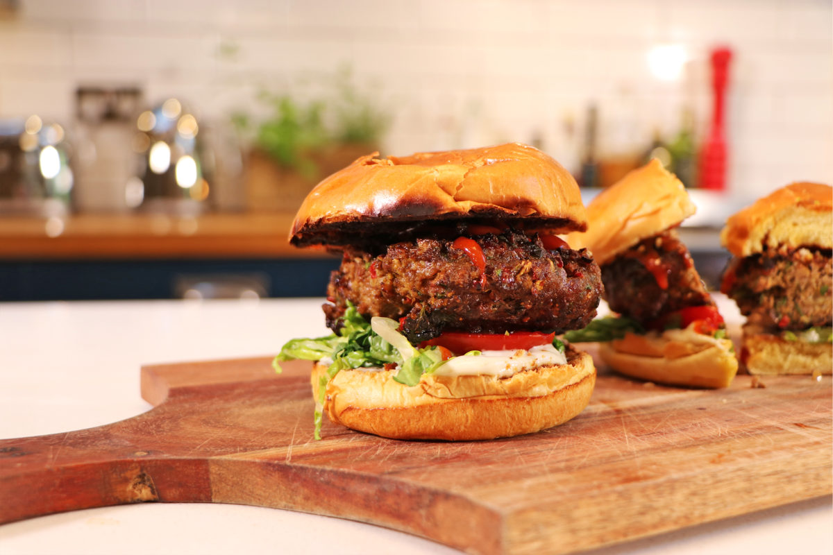 Homemade Curried Beefburgers with Indian Mayo
