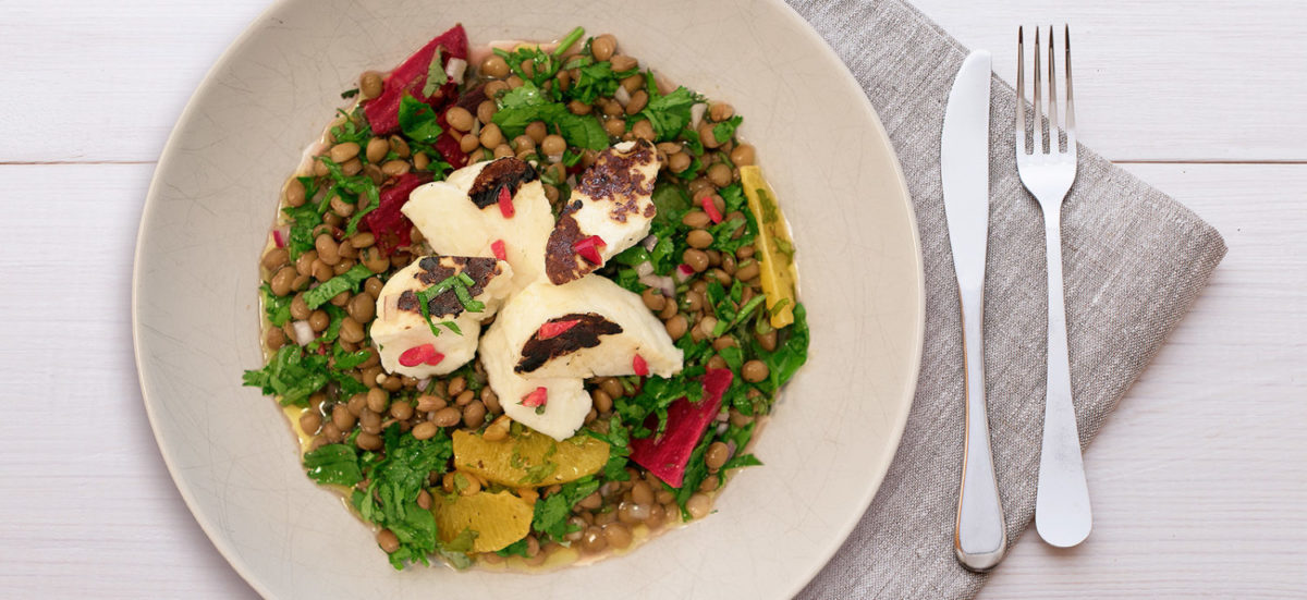 Grilled Halloumi Green Lentil Salad for David Lloyd Clubs – Video Recipe