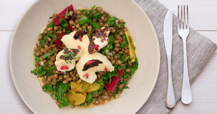 Grilled Halloumi Green Lentil Salad for David Lloyd Clubs – Video Recipe
